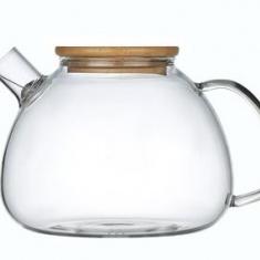 Стеклянный заварочный чайник для чая и кофе Ardesto с бамбуковой крышкой 1,5л (AR3015GBI)