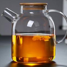 Стеклянный заварочный чайник для чая и кофе Ardesto с бамбуковой крышкой 1,5л (AR3015GB)