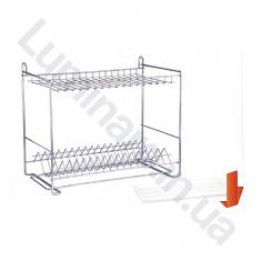 Сушилка для посуды с поддоном c креплением на стену 400мм Хром 2 яруса (СП24222)