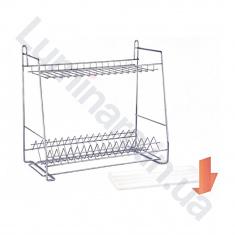 Сушилка для посуды с поддоном c креплением на стену 400мм Хром 2 яруса (СТ24222)