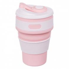 Складная силиконовая чашка Collapsible 350 мл Розовый